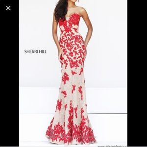 Sherri Hill 11120 Nude/Red lace strapless gown